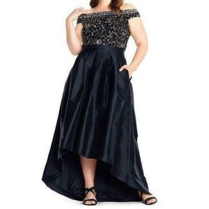 NWT Adrianna Papell beaded bodice high low gown